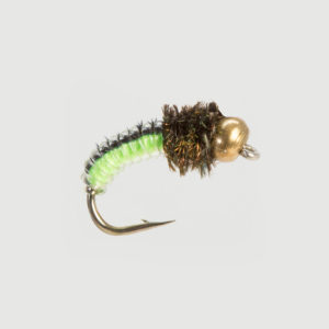 JUICY GRUB-BLACK/LIME BEAD HEAD-0